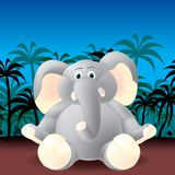 Jungle elephant. Cute elephant in jungle, layered and grouped illustration for easy editing Royalty Free Stock Photography