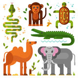 Jungle or exotic animals icons Royalty Free Stock Images