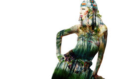 Jungle fashion girl stock photo