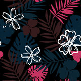 Jungle flower & leaves. A jungle flower printing for womenswear Royalty Free Stock Photos