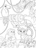 Jungle forest with animals cartoon raster illustration. Zentangle style. Black and white Royalty Free Stock Images