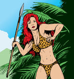 Jungle Gal in jungle. Jungle or prehistoric gal hunting.  with , background is separate and can be easily removed Stock Photos