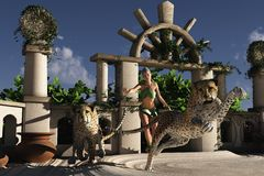 Jungle girl with cheetahs. Jungle girl in leafy costume releases two snarling cheetahs near abandoned temple building Royalty Free Stock Images