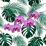Jungle. Green tropical leaf, orchid flowers and palm leaves. Seamless floral pattern.  on white background Royalty Free Stock Image