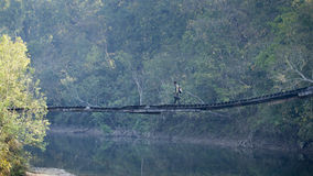 Jungle guide crossing wooden bridge at Bardia national park, Nepal Royalty Free Stock Photography