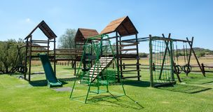 Jungle gym on a kids playground. stock photography