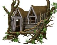 Jungle Hut. Tropical building, hand drawn source image Stock Images