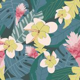 Jungle inspired coral pink yellow floral on green background seamless pattern. stock illustration