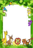 Jungle Invitation. Frame with various jungle animals to be used as notice, photobackground or invitation for party or birthday Royalty Free Stock Images