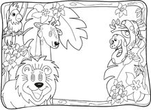 Jungle Invitation Lineart. Frame with various jungle animals to be used as notice, photobackground or invitation for party or birthday. Can also be used as Stock Images
