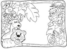 Jungle Invitation Lineart. Frame with various jungle animals to be used as notice, photobackground or invitation for party or birthday. Can also be coloring royalty free illustration