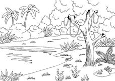 Jungle lake graphic black white landscape sketch illustration vector Stock Photos