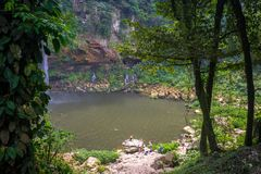 Jungle Lake. Hidden lake next to a waterfall in palenque, mexico Royalty Free Stock Photography