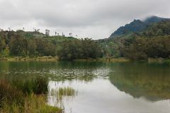 Jungle lake in mountains stock photography