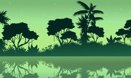 Jungle with lake scene of silhouette. Vector illustration royalty free illustration