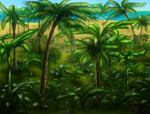Jungle landscape. Palm trees and all that stock illustration