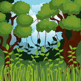 Jungle landscape background isolated icon design. Illustration  graphic Royalty Free Stock Images