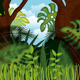 Jungle landscape background isolated icon design Stock Photography