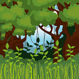 Jungle landscape background isolated icon design. Illustration  graphic Royalty Free Stock Photo