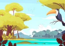 Jungle Landscape Cartoon Illustration Royalty Free Stock Photos