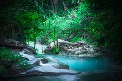 Jungle landscape with Erawan waterfall. Kanchanaburi, Thailand Royalty Free Stock Images