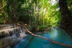 Jungle landscape with Erawan waterfall. Kanchanaburi, Thailand Royalty Free Stock Photos
