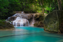 Jungle landscape with Erawan waterfall. Kanchanaburi, Thailand Royalty Free Stock Images