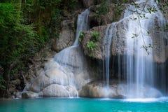 Jungle landscape with Erawan waterfall. Kanchanaburi, Thailand Royalty Free Stock Image