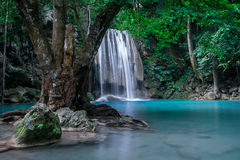 Jungle landscape with Erawan waterfall. Kanchanaburi, Thailand Royalty Free Stock Photos