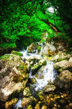 Jungle landscape with flowing turquoise water of georgian cascade waterfall at deep green forest. Mountain of georgia.  Royalty Free Stock Photos