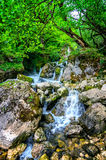 Jungle landscape with flowing turquoise water of georgian cascade waterfall at deep green forest. Mountain of georgia Stock Photography