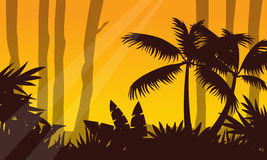 Jungle landscape with tree silhouette Royalty Free Stock Photography