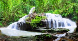 Jungle landscape with wonderful waterfall. At deep tropical rain forest, vacation and relaxation concept royalty free stock images