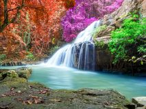 Jungle landscape with wonderful waterfall. At deep tropical rain forest, vacation and relaxation concept stock photos