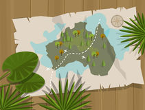 Jungle map australia cartoon adventure Royalty Free Stock Image