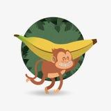 Jungle monkey cartoon emblem Stock Photo