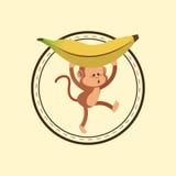 Jungle monkey cartoon emblem Stock Photography