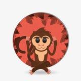 Jungle monkey cartoon emblem Royalty Free Stock Image