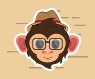 Jungle monkey cartoon emblem vector illustration