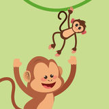 Jungle monkeys cartoon Royalty Free Stock Images