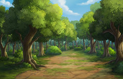 Jungle in the morning. Illustration of an outdoor in the jungle and natural Royalty Free Stock Images