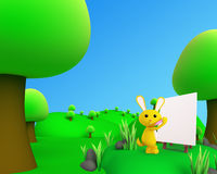 Jungle outdoor  picture view with bunny. 3d jungle outdoor picture view Royalty Free Stock Photos