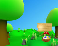 Jungle outdoor picture view egg basket. 3d jungle outdoor picture view egg basket Stock Photo