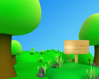 Jungle outdoore picture view with board. 3d jungle outdoor picture view with board Vector Illustration