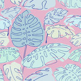 Jungle palm leaves pattern. Summer jungle palm leaves seameless pattern, drawing illustration in pastel colours pink and blue Royalty Free Stock Photos