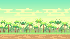 Jungle palm trees forest seamless loop landscape animation stock footage