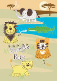Jungle Pals. Vector illustration of cute jungle animals in the wild Stock Images