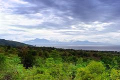 Jungle panorama on tropical sea strait Stock Photography