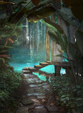 Jungle Path Fantasy Background royalty free illustration