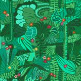 Jungle plants seamless pattern. Exotic tropical palm leaves, flowers, vines, fern. Rain forest repeating hand drawn
